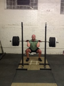 "Setting a PR in my front squat. I can still hear my coach yelling ""elbows up!"""